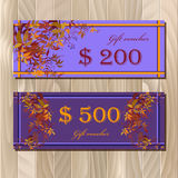 Voucher, Gift certificate, Coupon template for invitation, banner, ticket. stock illustration