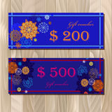 Voucher, Gift certificate, Coupon template for invitation, banner, ticket. Stock Image