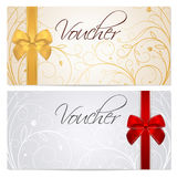 Voucher (Gift certificate, Coupon) template. Red b. Voucher, Gift certificate, Coupon template with floral scroll pattern, red and gold bow. Background for royalty free illustration