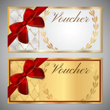 Voucher, Gift certificate, Coupon template with red bow ribbon Stock Photo