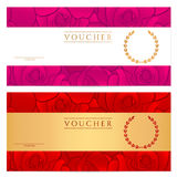Voucher (Gift certificate, Coupon) template. Rose Royalty Free Stock Image