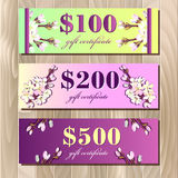 Voucher, Gift certificate, Coupon template. Spring design. Royalty Free Stock Photography