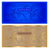 Voucher, Gift certificate, Coupon, ticket template. Guilloche pattern watermark Stock Images