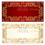 Voucher (gift Certificate) Template. Gold Pattern Royalty Free Stock Photography