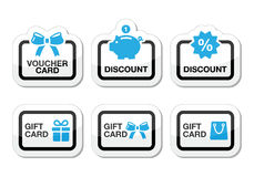 Voucher, gift, discount card  icons set Royalty Free Stock Image