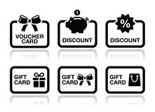 Voucher, gift, discount card vector icons set