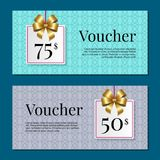 Voucher on 50 -75 Set of Posters Gold Tags Label Stock Photos