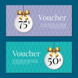 Voucher on 50 -75 Set of Posters Gold Tags Label Royalty Free Stock Photo