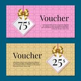 Voucher on 25 -75 Set of Posters Gold Tags Label Royalty Free Stock Photography