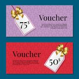 Voucher on 50 -75 Set of Posters Gold Tags Label Royalty Free Stock Image