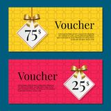Voucher on 25 -75 Set of Posters Gold Tags Label Royalty Free Stock Photos