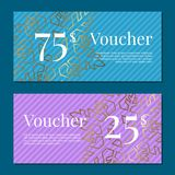 Voucher on 25 -75 Set of Posters Gold Tags Label Stock Image