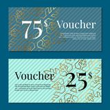 Voucher on 25 -75 Set of Posters Gold Tags Label. Voucher on 25 -75 set of posters with gold tags label on ribbons with bow background snowflakes. Gift Stock Image