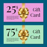 Voucher on 25 -75 Set of Posters Gold Tags Label Stock Photography