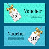 Voucher on 50 -75 Set of Posters Gold Tags Label. Voucher on 50 -75 set of posters with gold tags label on ribbons with bow on abstract blue backgrounds. Gift Stock Photography