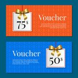 Voucher on 50 -75 Set of Posters Gold Tags Label. Voucher on 50-75 set of posters with gold tags label on ribbons with bow on abstract blue and orange. Gift Stock Images
