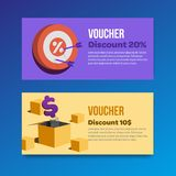 Voucher set of two promotions. Vector illustrations flat royalty free illustration