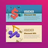 Voucher set of two promotions. Vector illustrations flat stock illustration