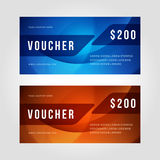 Voucher template abstract waves design vector. Illustration Royalty Free Stock Photography