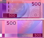 Free Voucher Template Banknote 500 With Guilloche Pattern Watermarks And Border. Purple Background Banknote, Gift Voucher, Coupon, Royalty Free Stock Photo - 149206275
