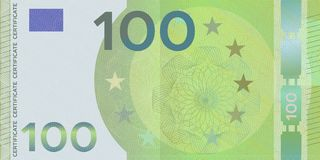 Voucher template banknote 100 euro with guilloche pattern watermarks and border. Green background banknote, gift voucher, coupon,