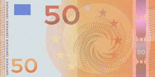 Voucher template banknote 50 euro with guilloche pattern watermarks and border. Orange background banknote, gift voucher, coupon,