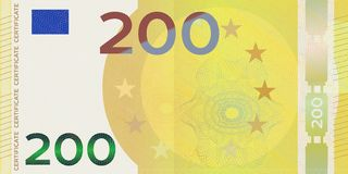 Voucher template banknote 200 euro with guilloche pattern watermarks and border. Yellow background banknote, gift voucher, coupon