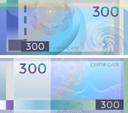 Voucher template banknote 300 with guilloche pattern watermarks and border. Blue background banknote, gift voucher, coupon, royalty free illustration