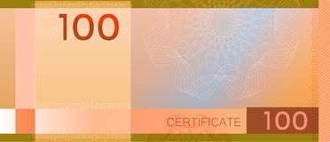 Voucher template banknote 100 with guilloche pattern watermarks and border. Orange background banknote, gift voucher, coupon,