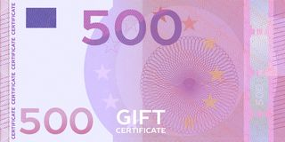 Voucher template banknote 500 with guilloche pattern watermarks and border. Yellow background for gift voucher, coupon, money