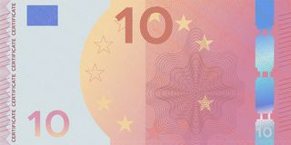 Voucher template banknote 10 with guilloche pattern watermarks and border. Yellow pink background banknote, gift voucher, coupon,