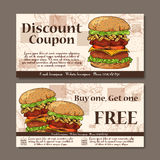 Voucher template design. Modern style for cafe, restaurant. Coupon for customer sale. Vector fast food illustration. Royalty Free Stock Photos