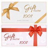 Voucher template with floral pattern, border, red and gold bow a. Nd ribbons. Design usable for gift coupon, voucher, invitation, certificate, diploma, ticket stock illustration