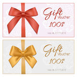 Voucher template with floral pattern, border, red and gold bow a Stock Images