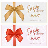 Voucher template with floral pattern, border, red and gold bow a Royalty Free Stock Photo
