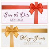 Voucher template with floral pattern, border, red and gold bow a. Nd ribbons. Design usable for gift coupon, voucher, invitation, certificate, diploma, ticket vector illustration