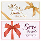 Voucher template with floral pattern, border, red and gold bow and ribbons. Design usable for gift coupon, voucher, invitation. Certificate, diploma, ticket royalty free illustration