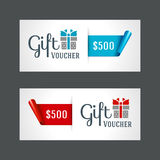 Voucher template with gift box and bow. Vintage design vector illustration Stock Photography