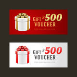 Voucher template with gift box and bow. Vintage design vector illustration Royalty Free Stock Image