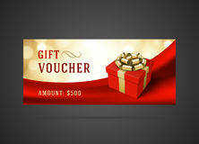 Voucher template with gift box and bow vintage Royalty Free Stock Photography