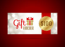 Voucher template with gift box and bow vintage Stock Photography