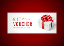 Voucher template with gift box and bow Stock Photo