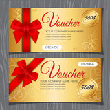 Voucher template, Gift certificate. Coupon template with bow and ribbons. Premium gold background and red ribbon Stock Image