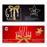 Voucher template with gold gift box,certificate. Background desi Royalty Free Stock Photography
