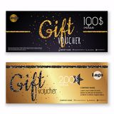 Voucher template with gold gift box,certificate. Background desi Stock Photo