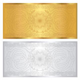Silver / Gold voucher template. Guilloche pattern. Voucher template with guilloche pattern (watermarks) and border. This background design usable for gift