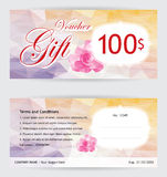 Voucher template with pink rose on low polygon pastel background. Voucher template with pink rose on low polygon background Royalty Free Stock Image