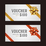 Voucher template with ribbon and bow. Vintage design vector illustration Royalty Free Stock Photos