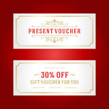 Voucher template with vintage ornament design Royalty Free Stock Image