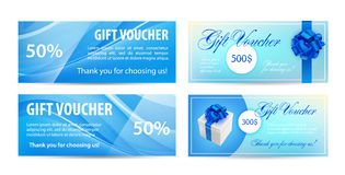 Voucher template with wavy background and blue bow ribbons. design usable for gift coupon, , invitation, certificate stock illustration